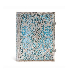 Paperblanks Notes w linie Ultra Silver Filigree Maya Blue